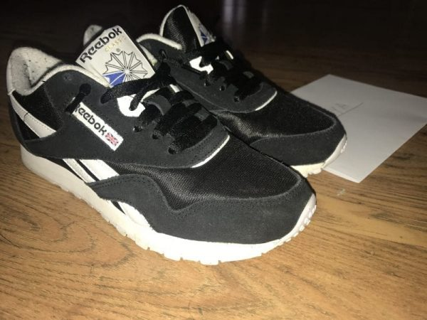 Black and White Reebok Nylon Classics UK 4
