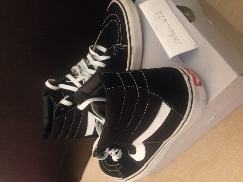VANS SK8 HI-TOP MENS BLACK AND WHITE UK9