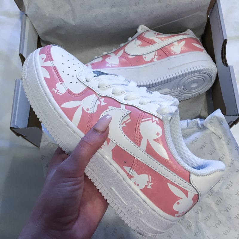 Nike Air Force 1 - Pink and White Playboy Print Custom