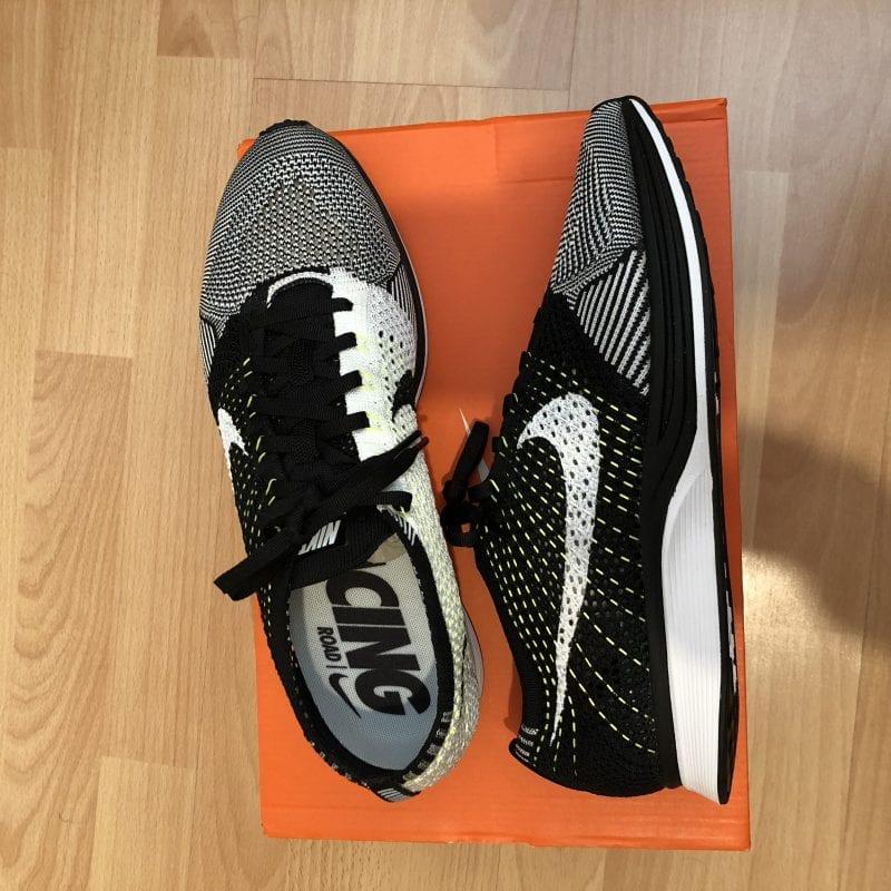 NEW Nike Flyknit Racer UK10 White/Black/Volt