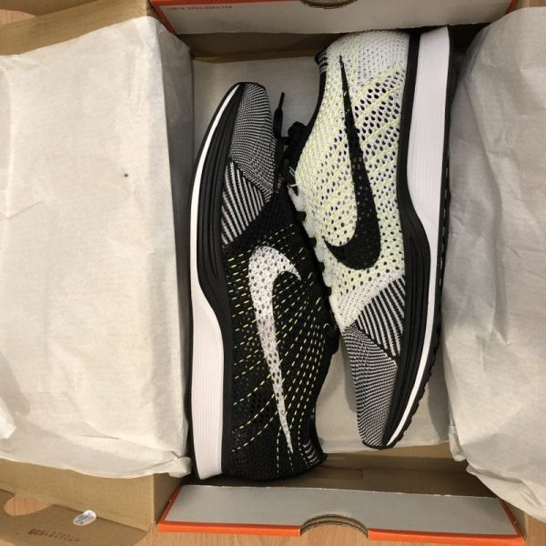 NEW Nike Flyknit Racer UK10 White/Black/Volt