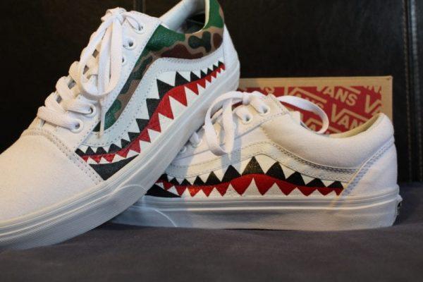 Bape Teeth Old Skool Vans With Camo