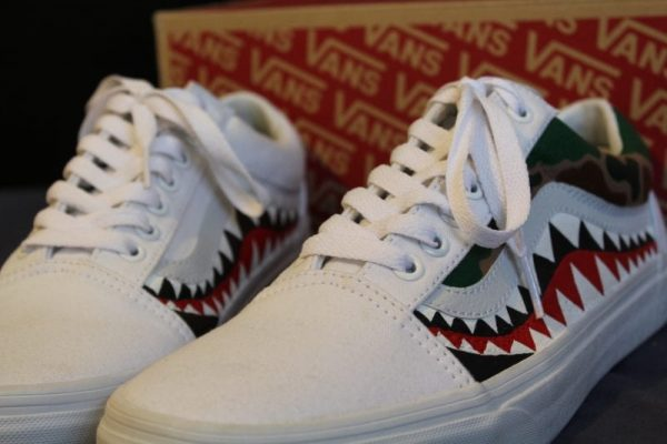 Bape Teeth Old Skool Vans With Camo
