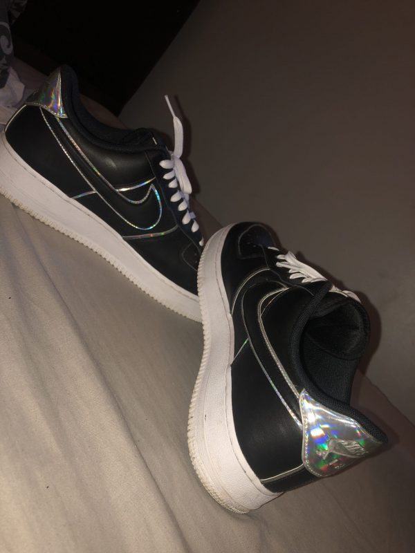 Black & White Air Force 1 with Reflective Swoosh