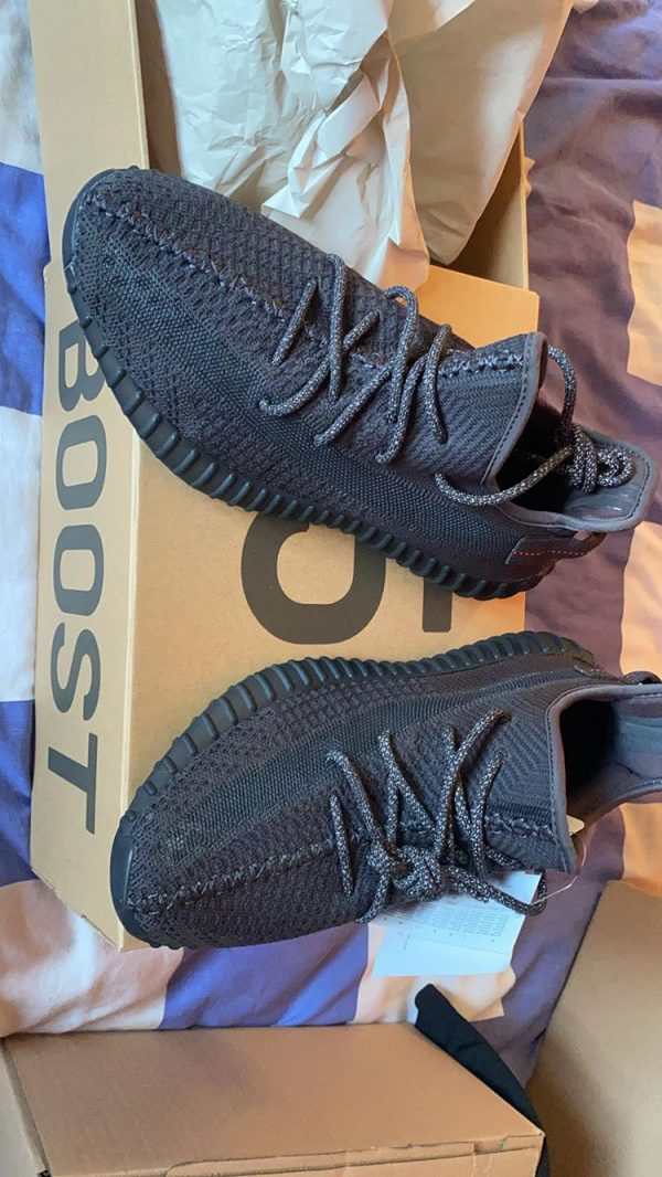 "Adidas Yeezy 350 V2 Static Black ""Reflective Laces"" in Size 9"