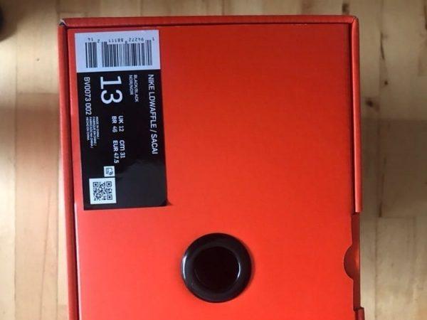 Nike LD Waffle Sacai Black Nylon UK 12