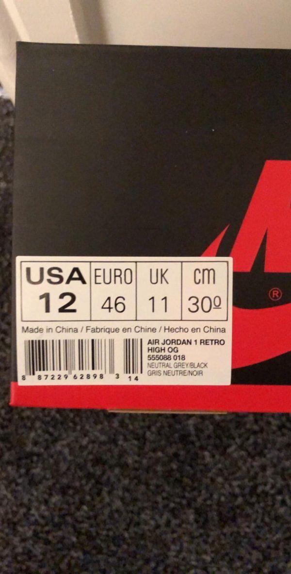 Jordan 1 Retro High Neutral Grey Hyper Crimson UK 11