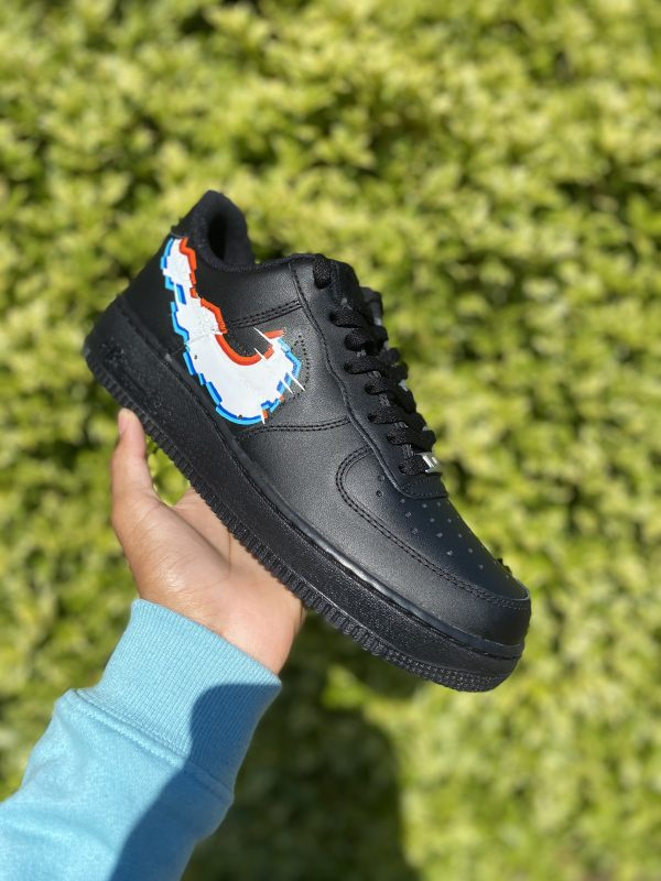 "Custom black AF1 ""Glitch swoosh"""