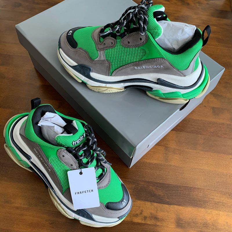 BALENCIAGA TRIPLE S GREY/GREEN