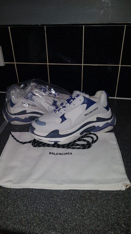 Balenciaga Triple S White Blue Leather