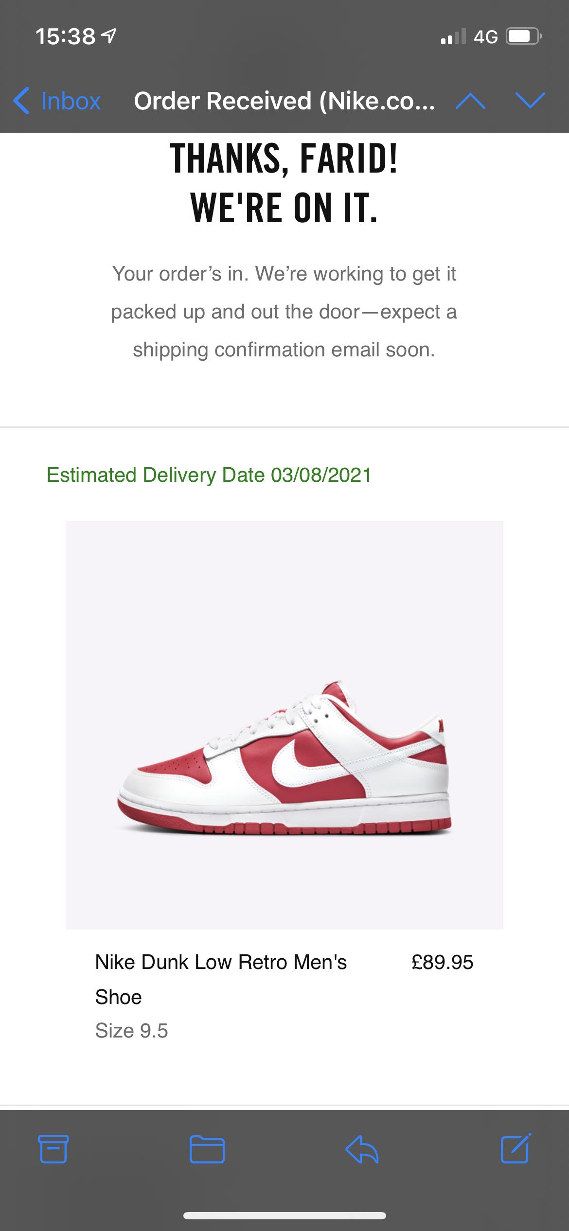 Nike dunk low retro red white